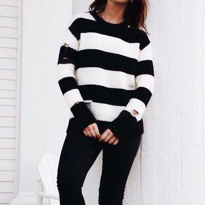 Stripe Distressed Sweater